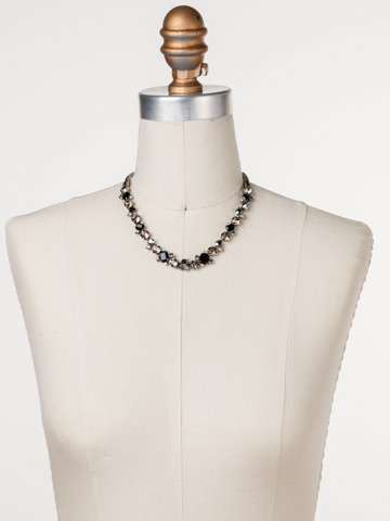 Glittering Multi-Cut Crystal Necklace in Antique Silver-tone Black Onyx displayed on a necklace bust