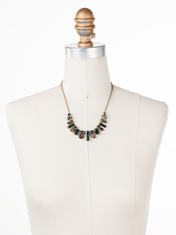 Regal Rectangles Necklace in Antique Gold-tone Volcano displayed on a necklace bust