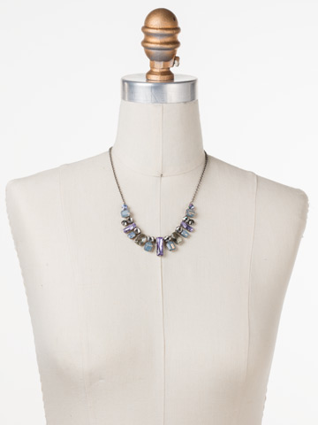 Regal Rectangles Necklace in Antique Silver-tone Purple Lotus displayed on a necklace bust