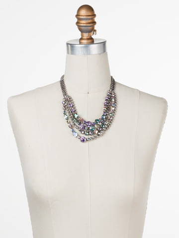 Red Carpet Layering Necklace in Antique Silver-tone Lilac Pastel displayed on a necklace bust