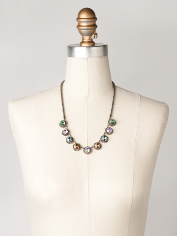 Roped In Necklace in Antique Silver-tone Eggshell displayed on a necklace bust