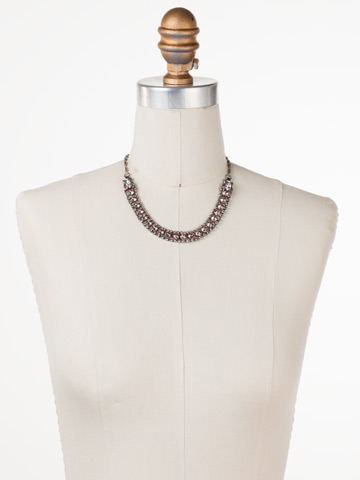 Right on Track Necklace in Antique Silver-tone Crystal Rose displayed on a necklace bust