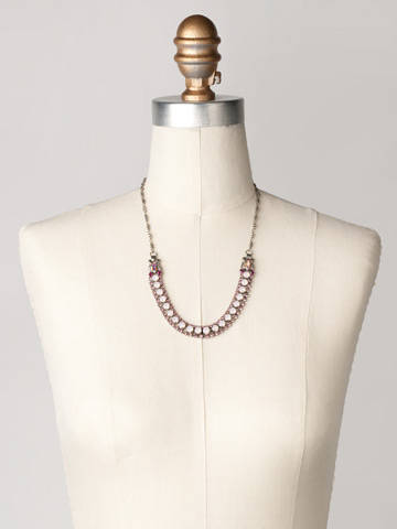 Right on Track Necklace in Antique Silver-tone Sweet Heart displayed on a necklace bust