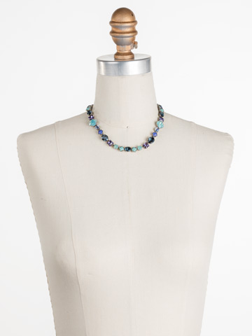 Heather Necklace in Antique Silver-tone Moonlit Shores displayed on a necklace bust