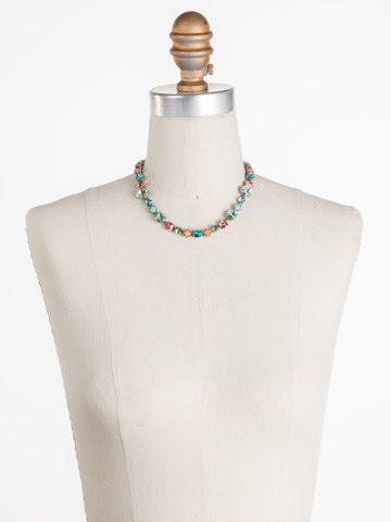 Heather Necklace in Antique Silver-tone Vivid Horizons displayed on a necklace bust