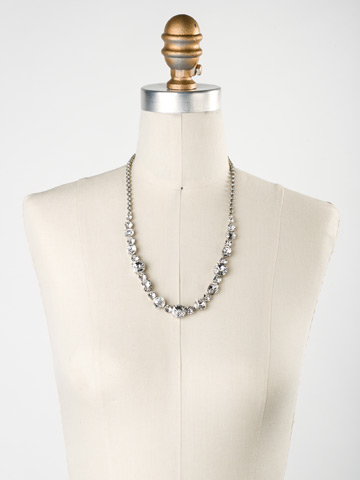 Graduated Classic Necklace in Antique Silver-tone Crystal displayed on a necklace bust