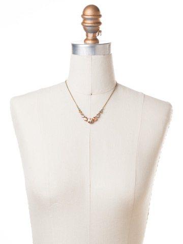 Delicate Round Crystal Necklace in Antique Gold-tone Apricot Agate displayed on a necklace bust