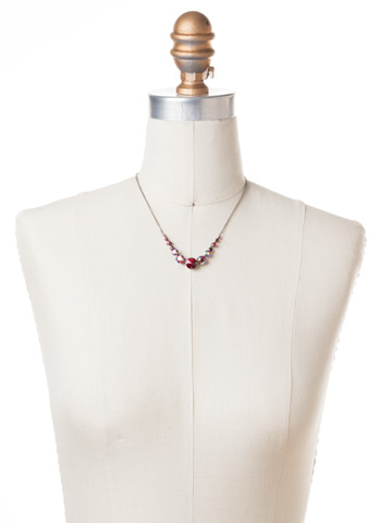 Delicate Round Crystal Necklace in Antique Silver-tone Cranberry displayed on a necklace bust