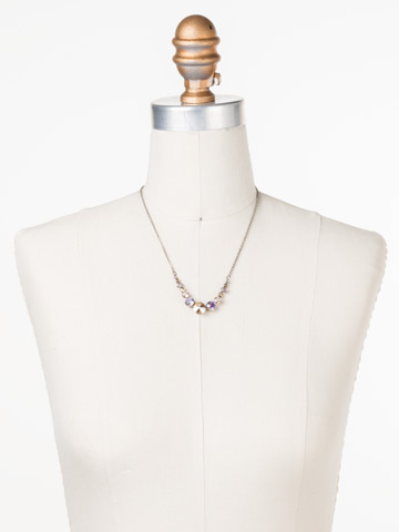 Delicate Round Crystal Necklace in Antique Silver-tone Mirage displayed on a necklace bust
