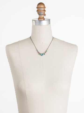 Delicate Round Crystal Necklace in Antique Silver-tone Vivid Horizons displayed on a necklace bust