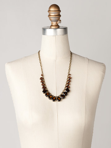 Peared to Perfection Necklace in Antique Gold-tone Smoke Topaz displayed on a necklace bust