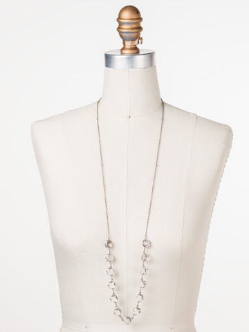 Crystal Rain Long Strand Necklace in Antique Silver-tone Crystal displayed on a necklace bust