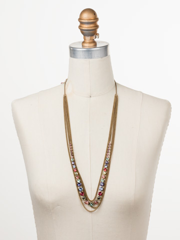 Layer It On Multi-Strand Necklace in Antique Gold-tone Bohemian Bright displayed on a necklace bust
