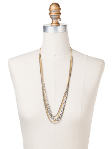Layer It On Multi-Strand Necklace in Mixed Metal Crystal displayed on a necklace bust