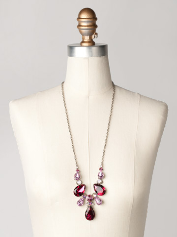 Teardrop Triangle Bib Necklace in Antique Silver-tone Sweet Heart displayed on a necklace bust