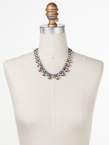 Cushion Cut Crystal Statement Collar Necklace in Antique Silver-tone Lilac Pastel displayed on a necklace bust