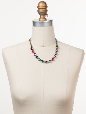 Repeating Rivoli Classic Line Necklace in Antique Gold-tone Game of Jewel Tones displayed on a necklace bust