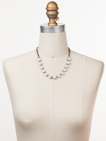Repeating Rivoli Classic Line Necklace in Antique Silver-tone Glacier displayed on a necklace bust