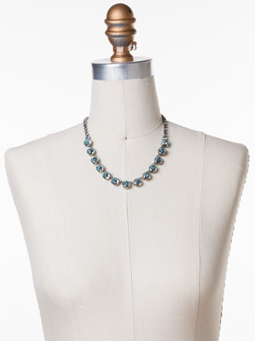 Repeating Rivoli Classic Line Necklace in Antique Silver-tone Running Water displayed on a necklace bust