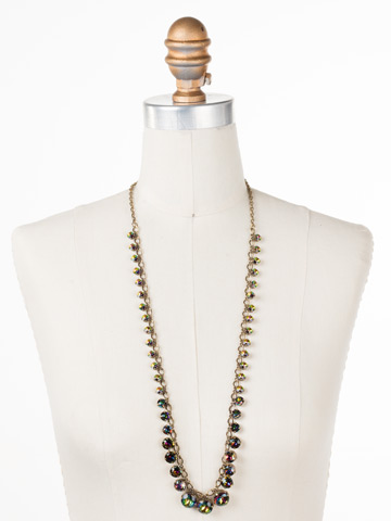 Graduated Round Crystal Long Strand Necklace in Antique Gold-tone Volcano displayed on a necklace bust