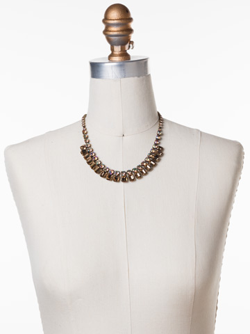 Crystal Octagon Classic Necklace in Antique Gold-tone Neutral Territory displayed on a necklace bust