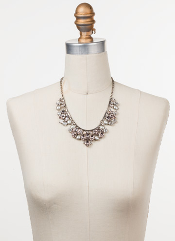 Floral Crystal Cluster Classic Necklace in Antique Silver-tone Soft Petal displayed on a necklace bust
