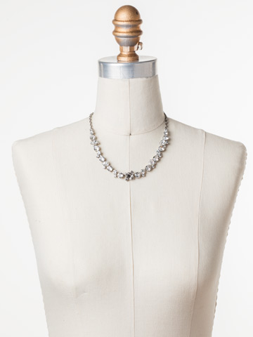 Novelty Multi-Cut Crystal Necklace in Antique Silver-tone Crystal displayed on a necklace bust