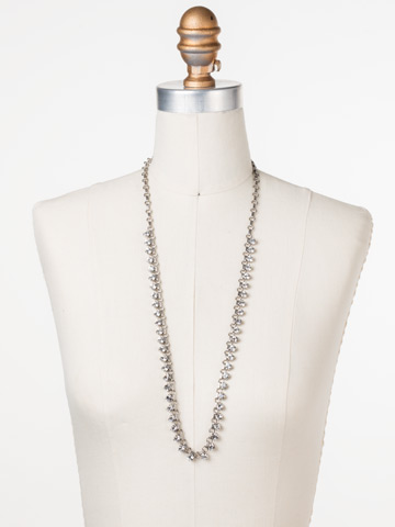 Petite Round Crystal Long Strand in Antique Silver-tone Crystal displayed on a necklace bust