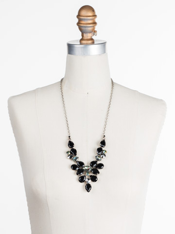 Chambray Statement Necklace in Antique Silver-tone Black Onyx displayed on a necklace bust