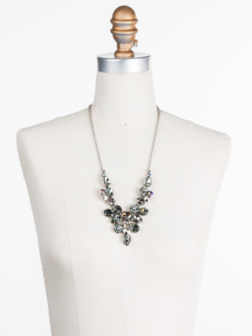 Chambray Statement Necklace in Antique Silver-tone Crystal Rock displayed on a necklace bust