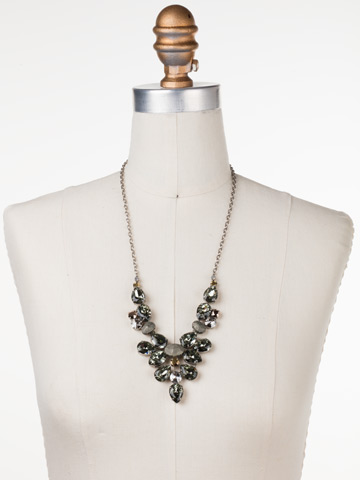 Chambray Statement Necklace in Antique Silver-tone Gold Vermeil displayed on a necklace bust