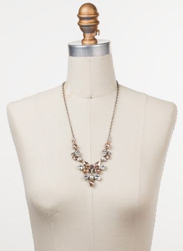 Chambray Statement Necklace in Antique Silver-tone Soft Petal displayed on a necklace bust
