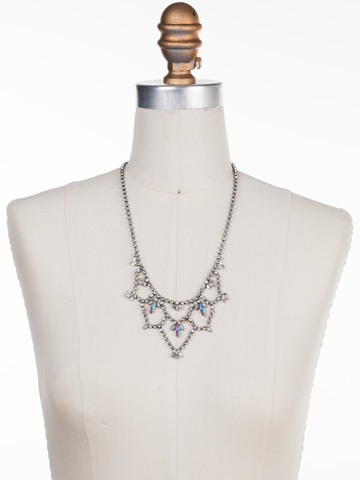 Interlacing Crystal Navette Bib Necklace in Antique Silver-tone White Bridal displayed on a necklace bust