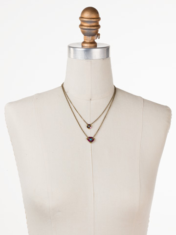 Dazzling Double Strand Layered Necklace in Antique Gold-tone Botanical Brights displayed on a necklace bust