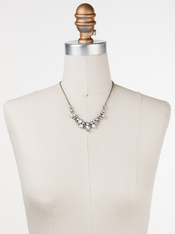Elegant Navette Necklace in Antique Silver-tone White Bridal displayed on a necklace bust