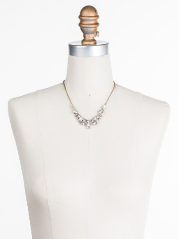 Noveau Navette Necklace in Antique Gold-tone Crystal displayed on a necklace bust