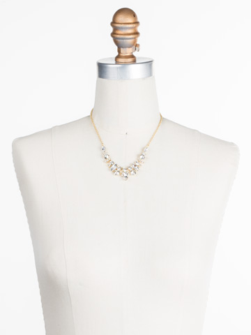 Noveau Navette Necklace in Bright Gold-tone Crystal displayed on a necklace bust