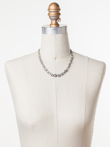 Macrame Line Necklace in Antique Silver-tone Crystal displayed on a necklace bust