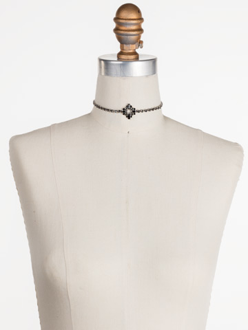 Spot On Choker in Antique Silver-tone Black and White displayed on a necklace bust