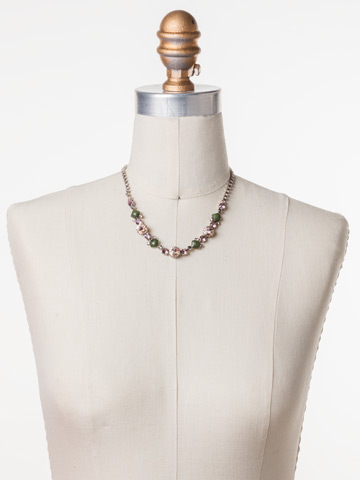 Classic Chiffon Line Necklace in Antique Silver-tone Army Girl displayed on a necklace bust