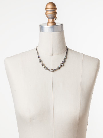 Classic Chiffon Line Necklace in Antique Silver-tone Crystal Rock displayed on a necklace bust
