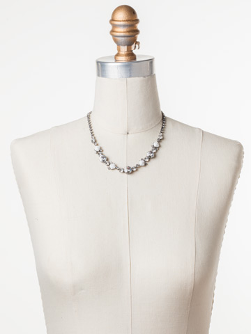 Classic Chiffon Line Necklace in Antique Silver-tone Crystal displayed on a necklace bust