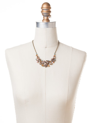 Nested Pear Statement Necklace in Antique Gold-tone Apricot Agate displayed on a necklace bust