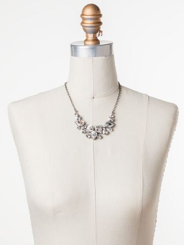 Nested Pear Statement Necklace in Antique Silver-tone Crystal displayed on a necklace bust
