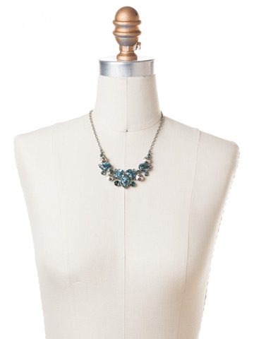 Nested Pear Statement Necklace in Antique Silver-tone Pebble Blue displayed on a necklace bust