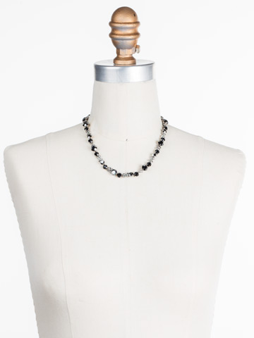 In Bloom Line Necklace in Antique Silver-tone Black Onyx displayed on a necklace bust
