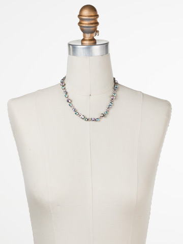 In Bloom Line Necklace in Antique Silver-tone Lilac Pastel displayed on a necklace bust