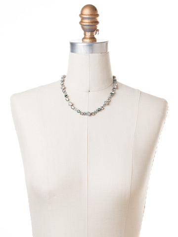 In Bloom Line Necklace in Antique Silver-tone Pebble Blue displayed on a necklace bust
