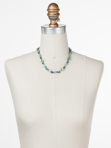In Bloom Line Necklace in Antique Silver-tone Sweet Mint displayed on a necklace bust