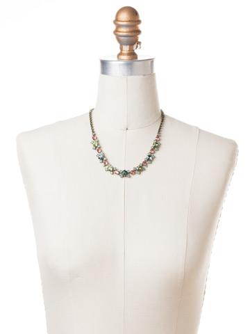 Perfect Harmony Line Necklace in Antique Gold-tone Gem Pop displayed on a necklace bust